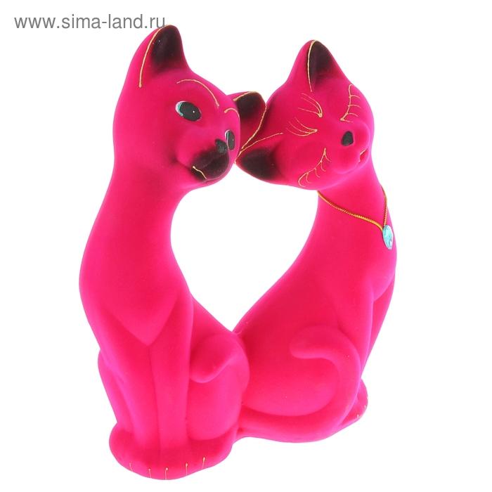 """Копилка """"Влюблённая пара"""" большая, флок, розовая"""