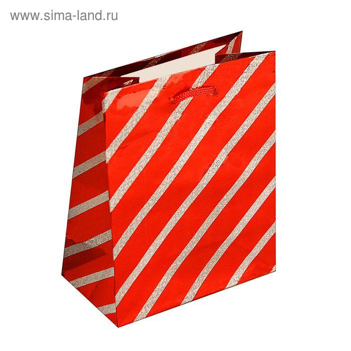 """Пакет голографический """"Тонкая полоска"""", цвет красный"""