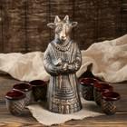 """Штоф с рюмками """"Коза в платье"""" 7 предметов, 0,7 л, бронза"""