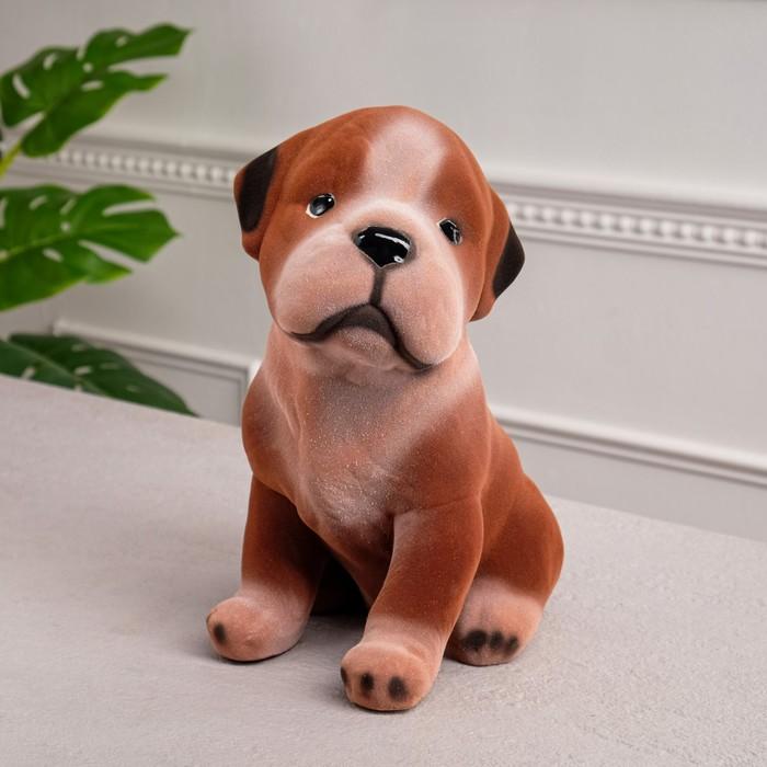 "Копилка ""Сенбернар"" флок, серо-коричневая"