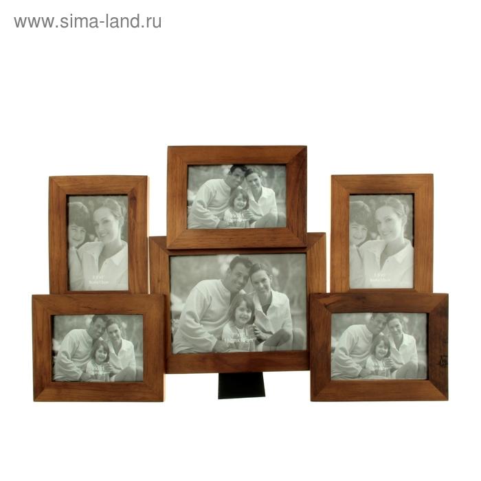 "Фоторамка на 6 фото 9х13 см, 13х18 см ""Семейные истории"", цвет махагон"