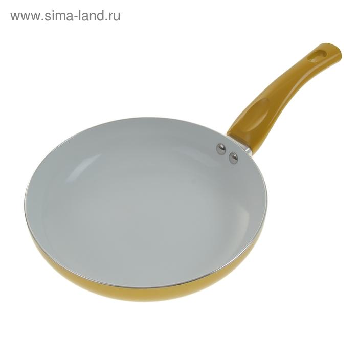 """Сковорода с керамическим покрытием 20 см """"Металлик"""", золотая"""