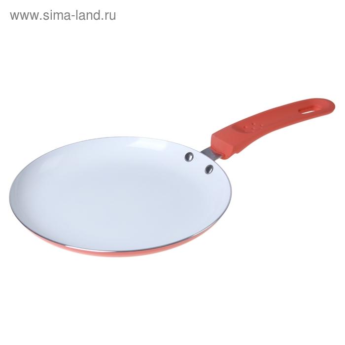 """Сковорода блинная 20 см """"Неон"""" с керамическим покрытием и индукционным дном, оранжевая"""