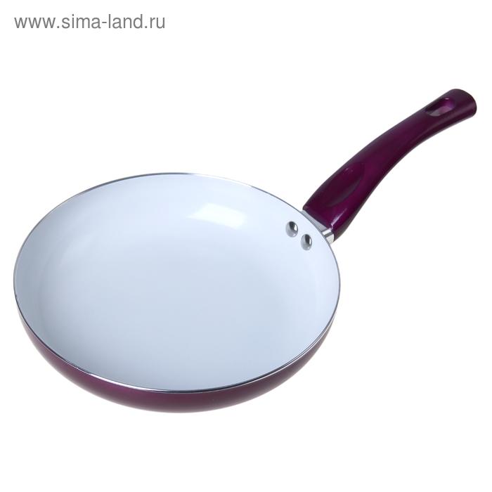 """Сковорода с керамическим покрытием 24 см """"Металлик"""", баклажановая"""