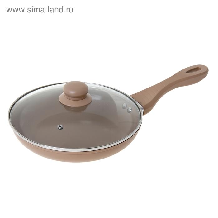 """Сковорода литая 24 см """"Кофейная"""" с керамическим покрытием и крышкой"""