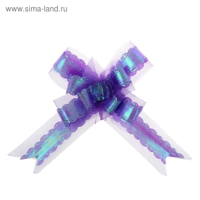 """Бант-бабочка №5 """"Ажурный перламутр"""", цвет синий"""