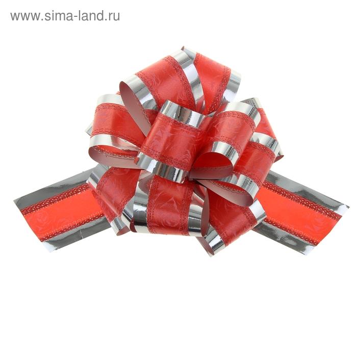 """Бант-шар №5 """"Розы в серебре"""", цвет красный"""