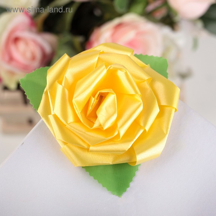 Бант-роза №6 жёлтый