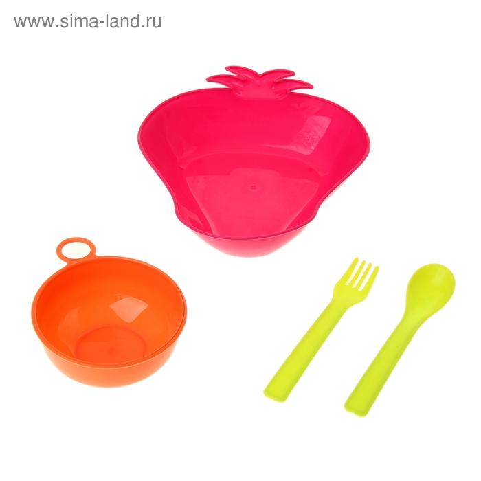 """Набор детской посуды """"Клубничка"""", 4 предмета: кружка 150 мл, миска 350 мл, ложка, вилка, цвета МИКС"""