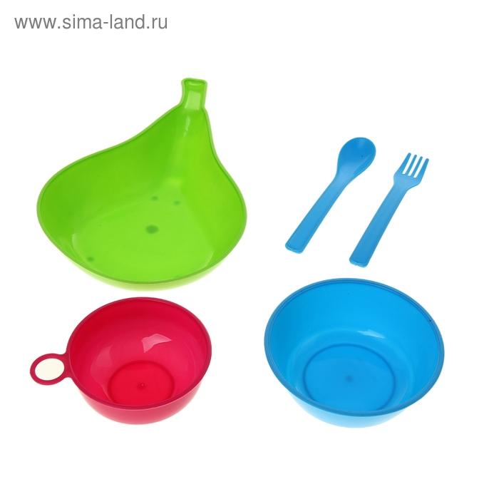 """Набор детской посуды """"Груша"""", 5 предметов: кружка 150 мл, 2 миски 400, 150 мл, ложка, вилка, цвета МИКС"""
