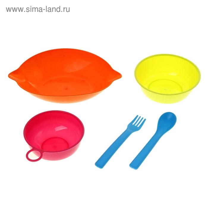 "Набор детской посуды ""Лимон"", 5 предметов: кружка 150 мл, миска 2 шт. 400 и 260 мл, ложка, вилка, цвета МИКС"