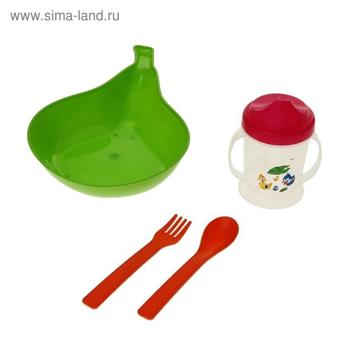 "Набор детской посуды ""Груша"", 4 предмета: бутылочка 150 мл, миска 400 мл, ложка, вилка, цвета МИКС"