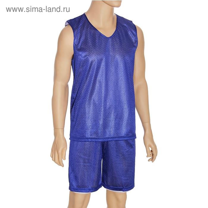 Форма баскетбольная двухсторонняя мужская р. 3ХL, рост 175 см, цвет синий-белый