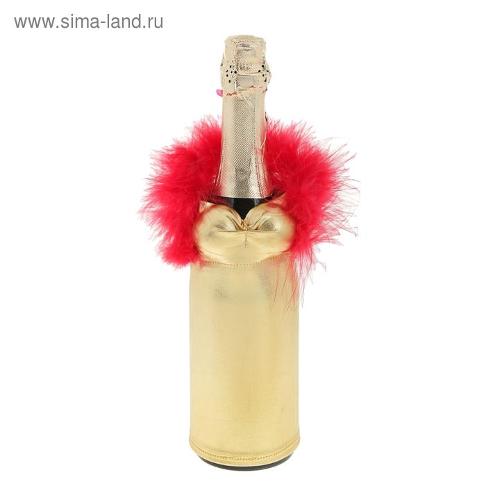 """Одежда на бутылку """"Жгучая красавица"""", цвет золотой"""