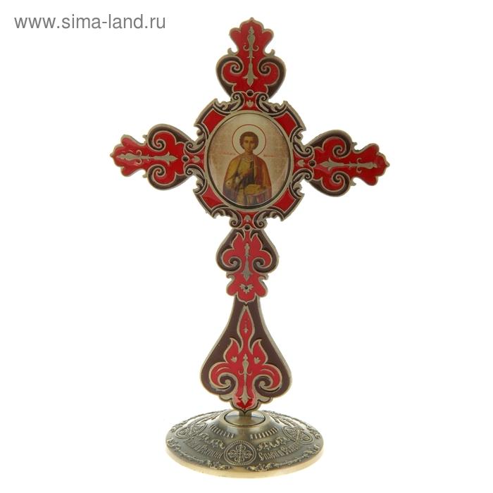 """Крест на подставке с иконой """"Великомученик и Целитель Пантелеимон"""""""
