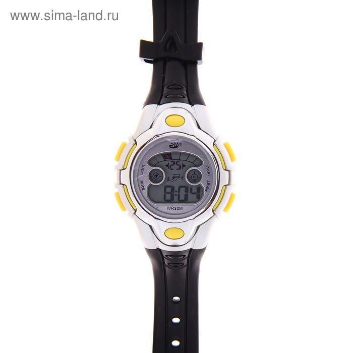 Часы наручные мужские электронные влагозащищенные с подсветкой на силиконовом ремешке, цвет черно-желтый