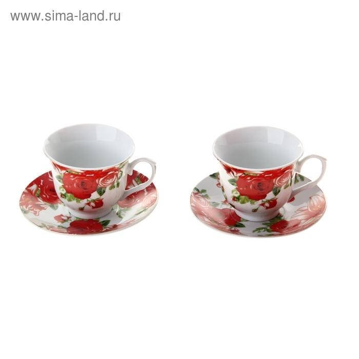 """Сервиз чайный """"Белла"""", 4 предмета: 2 чашки 200 мл, 2 блюдца"""
