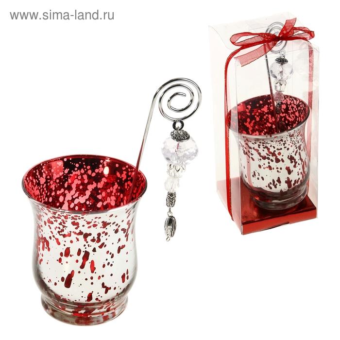 """Подсвечник с держателем для свечи """"Крапинка"""", цвет красный"""