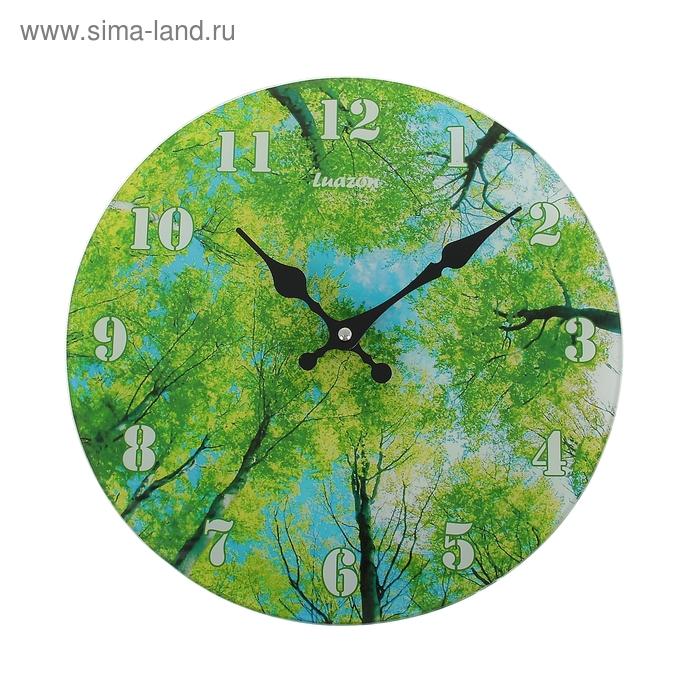"""Часы настенные из стекла """"Зеленый лес"""""""