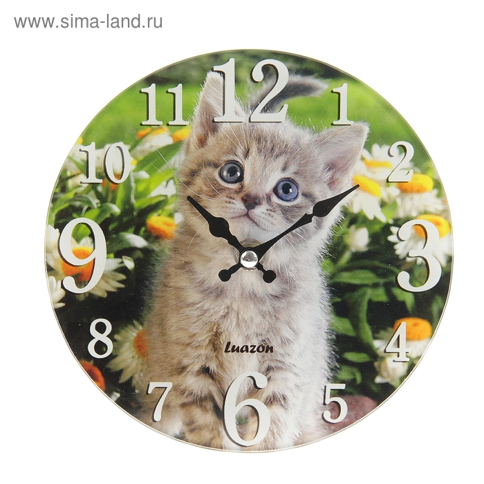 """Часы настенные из стекла с подставкой """"Котенок в ромашках"""""""
