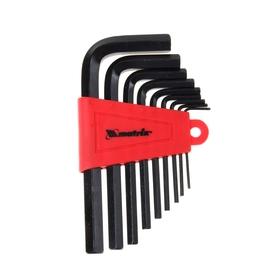 Ключи имбусовые HEX 1,5–10 мм MATRIX, CrV, оксидированные, короткие, 9 шт.