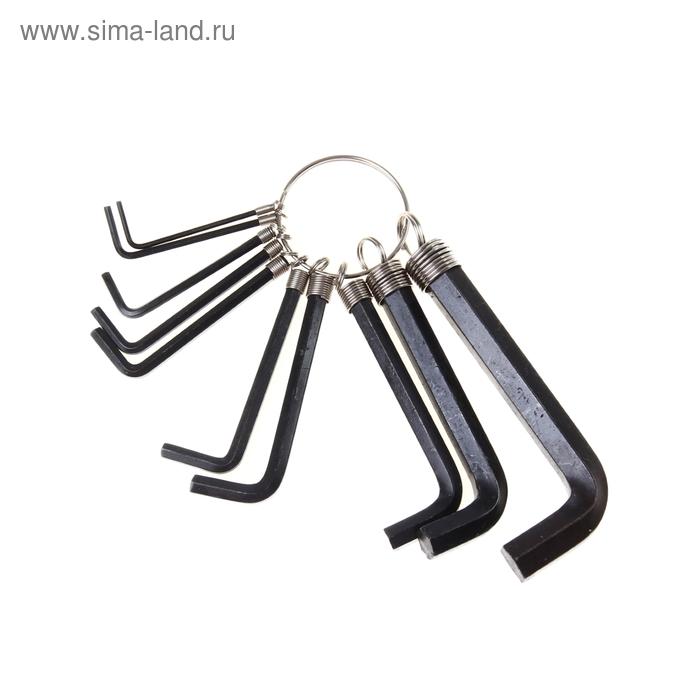 Ключи имбусовые HEX 1,5–10 мм SPARTA, CrV,оксидированные, на кольце,10 шт.