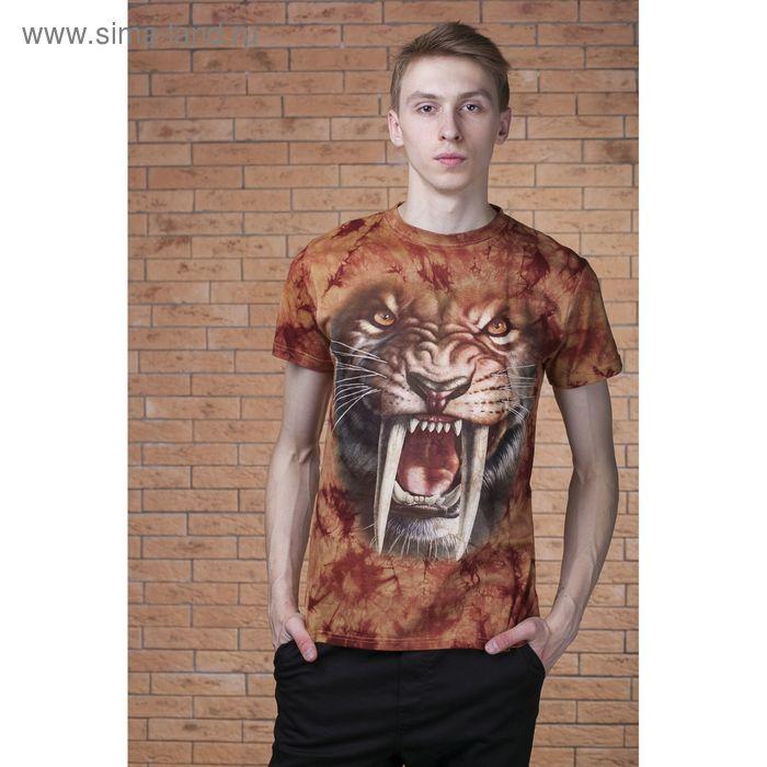 Футболка мужская Collorista 3D Wild tiger, размер S (44), цвет коричневый