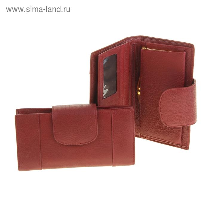 """Кошелёк женский """"Никита"""" 1 отдел на рамке, 4 отдела, отдел для кредиток, цвет бордовый"""