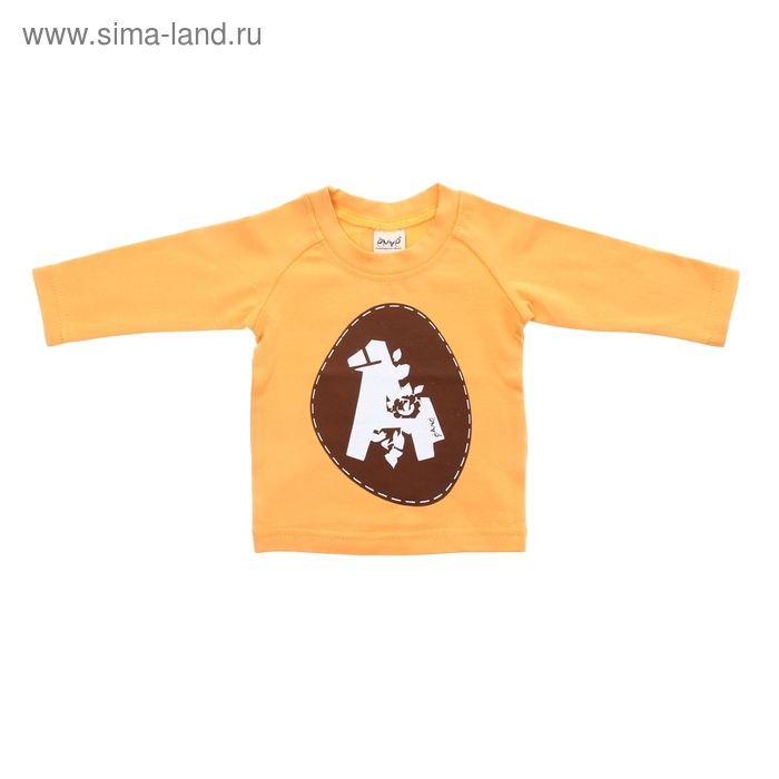 """Детская футболка """"Лошадка"""" с длинными рукавами, рост 62 см, цвет желтый"""