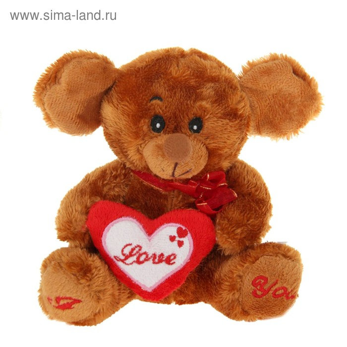 "Мягкая игрушка ""Мышка"", на сердце, лапках надпись, цвета МИКС"