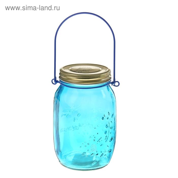 """Банка для сыпучих продуктов 920 мл """"Калейдоскоп"""" с подвесом (12 см), цвет синий"""