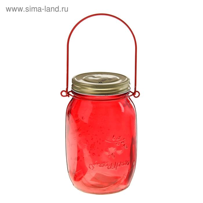 """Банка для сыпучих продуктов 920 мл """"Калейдоскоп"""" с подвесом (12 см), цвет красный"""