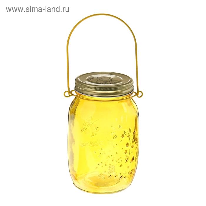 """Банка для сыпучих продуктов 920 мл """"Калейдоскоп"""" с подвесом (12 см), цвет желтый"""