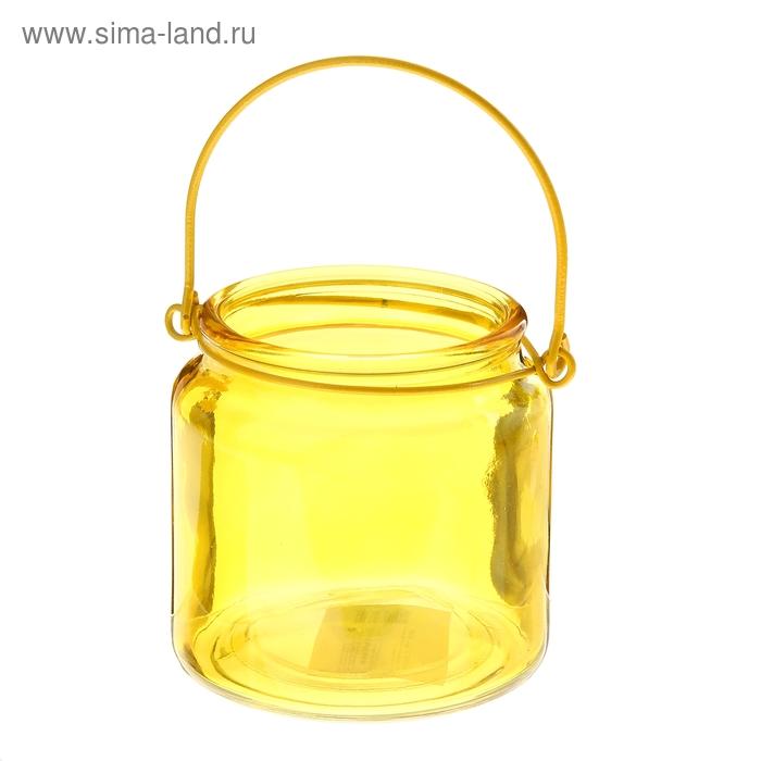 """Банка для сыпучих продуктов 480 мл """"Калейдоскоп"""" с подвесом, желтая"""