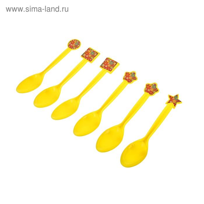 """Набор пластиковых ложек """"Цветочки"""", (набор 6 шт), цвет желтый"""