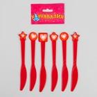 """Набор пластиковых ножей """"Сердечки"""", (набор 6 шт), цвет красный"""