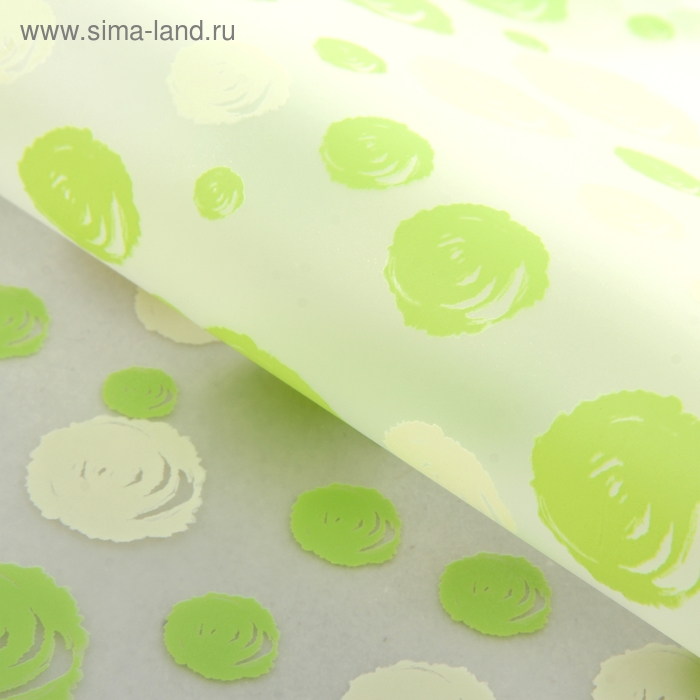 """Пленка матовая прозрачная """"Воздушные розочки"""", цвет зеленый и бежевый"""