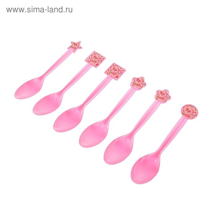 """Набор пластиковых ложек """"Бабочки"""", (набор 6 шт), цвет розовый"""