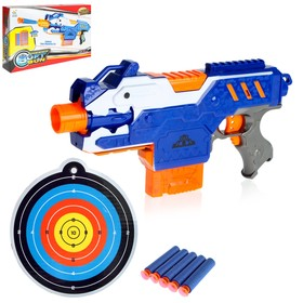 """Пистолет """"Крутой стрелок"""", работает от батареек, стреляет мягкими пулями"""