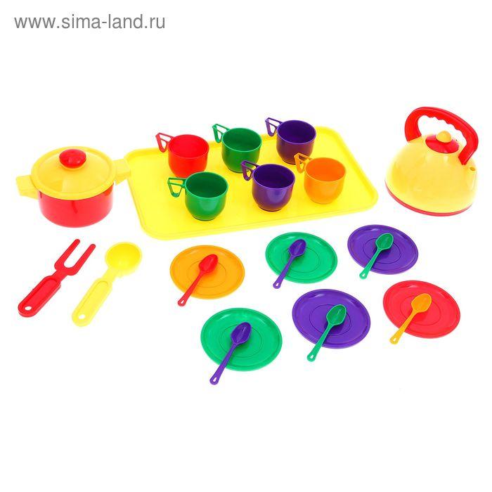 Набор посуды с чайником, подносом и кастрюлей, 23 предмета, МИКС