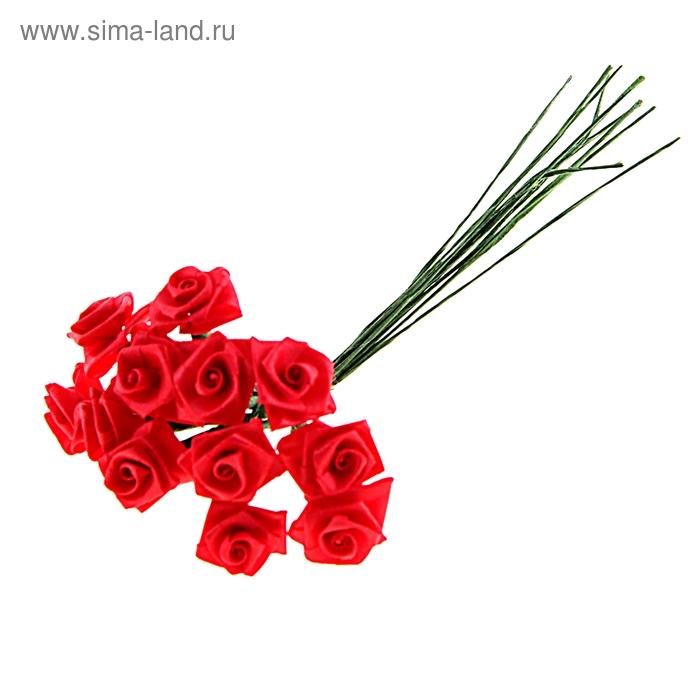 """Декор для творчества """"Красная роза"""" (1 набор=1 букету) в букете 12 цветков"""
