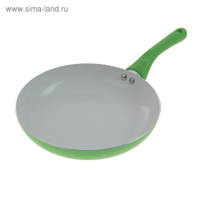 """Сковорода с керамическим покрытием 26 см """"Неон"""" с индукционным дном, зеленая"""
