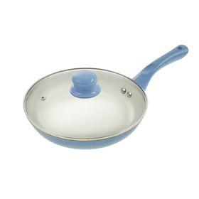 Сковорода литая 20 см Diamond с керамическим покрытием и крышкой, толщина 3,5 мм, цвет голубой