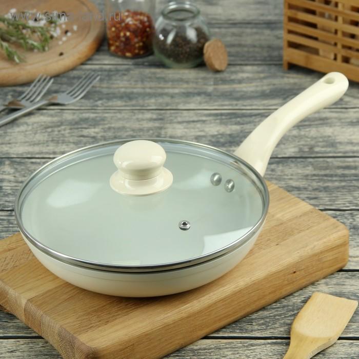 Сковорода литая 22 см Diamond с керамическим покрытием и крышкой, бежевая
