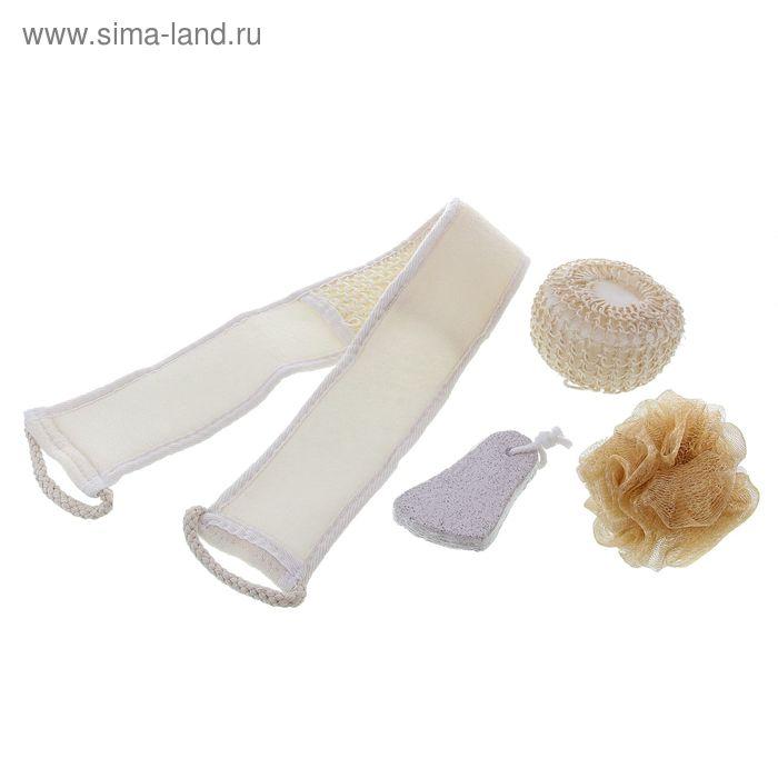 Набор банный в сумке с ручками 4 предмета: 3 мочалки, пемза