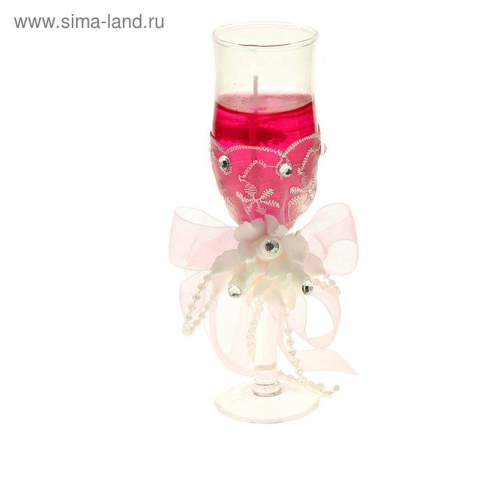 "Свеча гелевая ""Кружево"", цвет розовый"