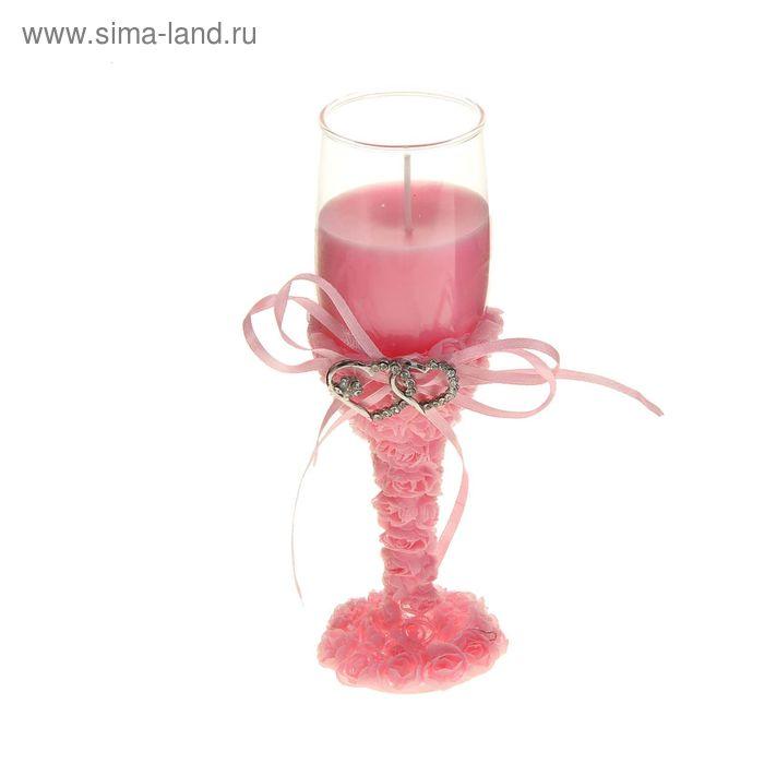 """Свеча восковая """"Сплетение сердец"""", цвет розовый"""
