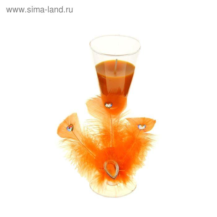 """Свеча восковая """"Перо"""", цвет оранжевый"""