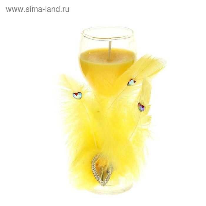 """Свеча восковая """"Перо"""", цвет желтый"""