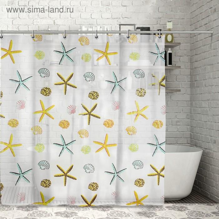 "Штора для ванной 180х180 см, PEVA ""Морские звезды"""